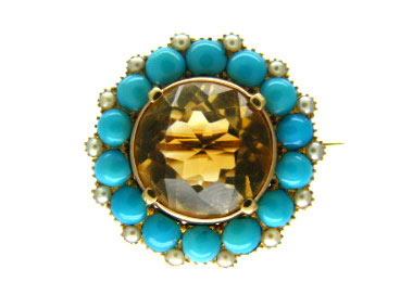 Turquoise Pearl Brooch