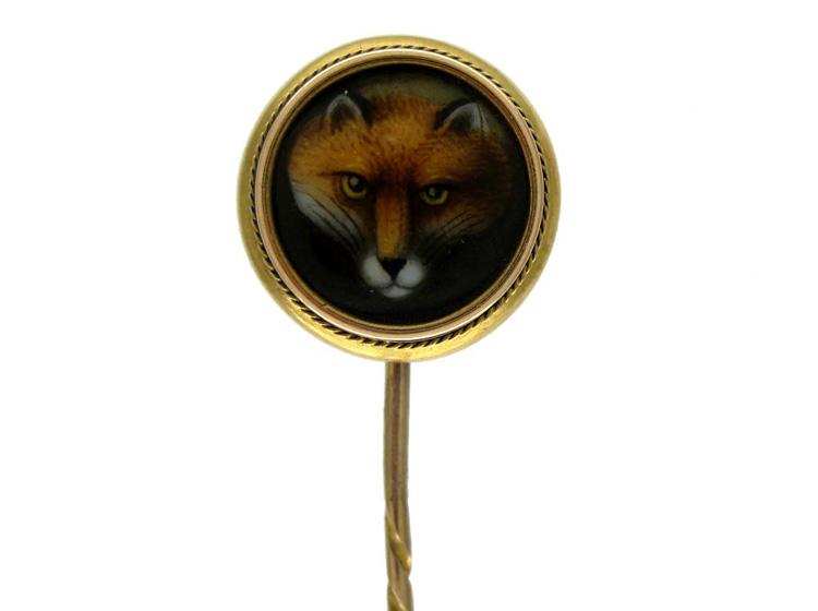 Fox Enamel 15ct Gold Tie Pin