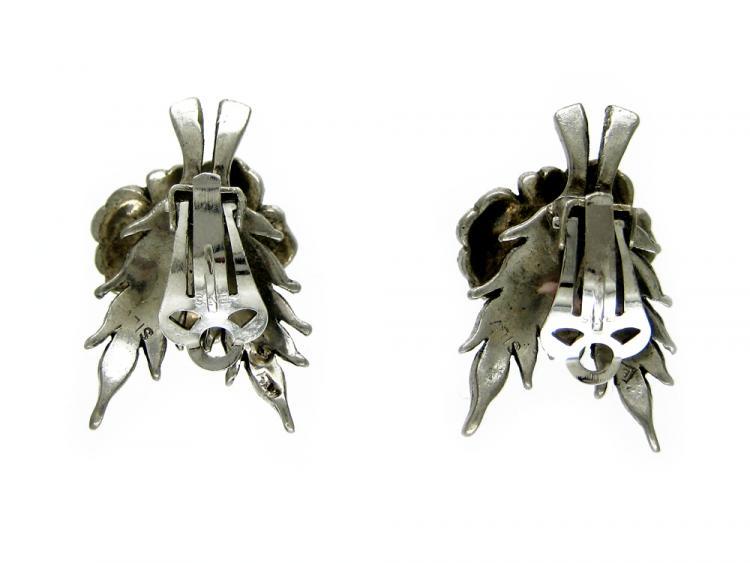 Marcasite & Pearl Flower Clip-On Earrings