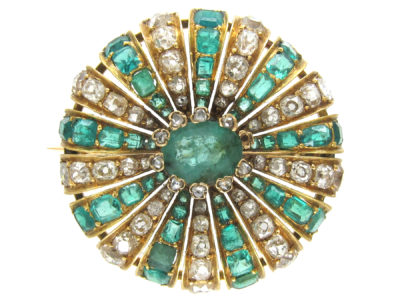 Emerald & Diamond Round Brooch