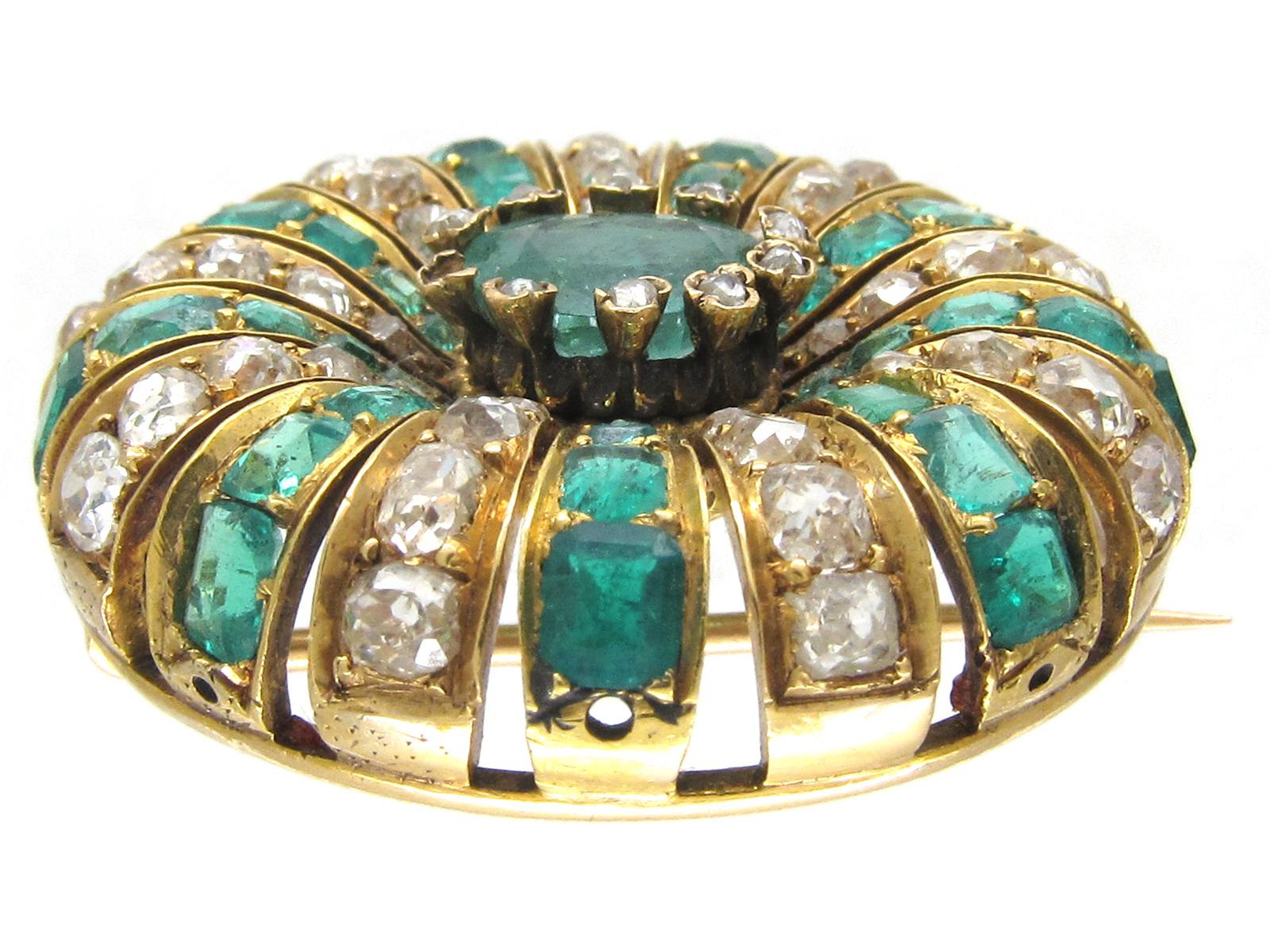 Emerald & Diamond Round Brooch