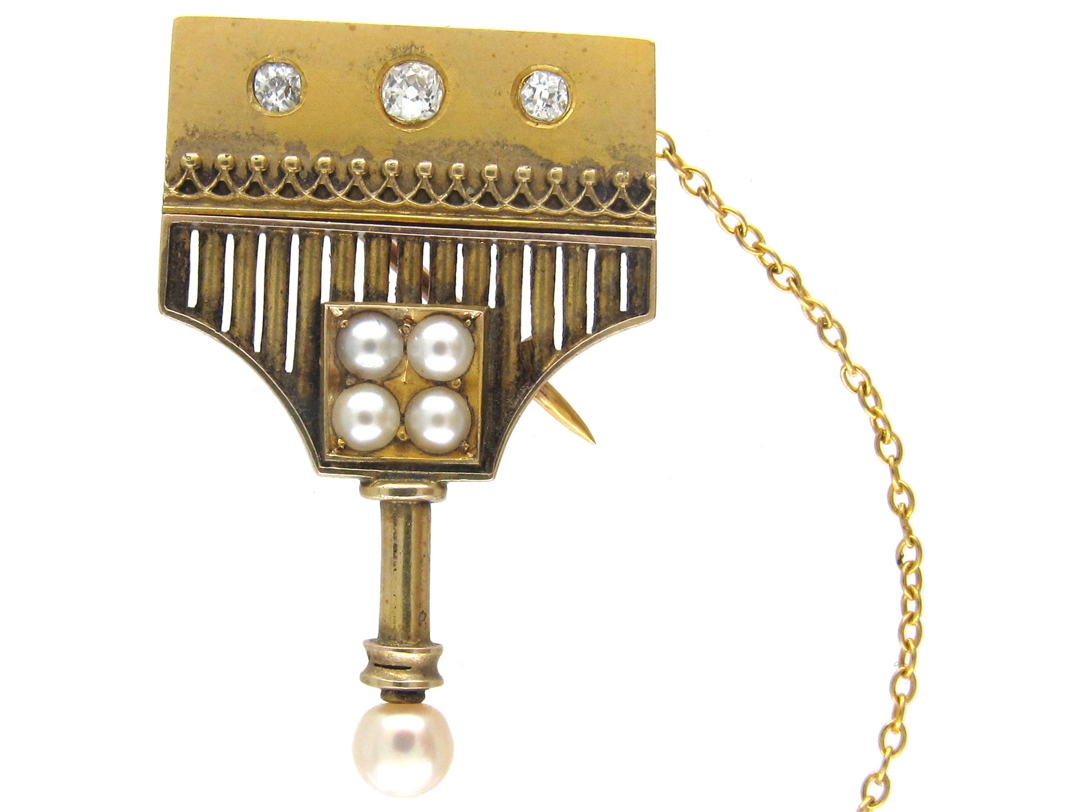 18ct Gold, Pearl & Diamond Brooch