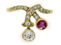 Ruby Diamond Art Nouveau Ring