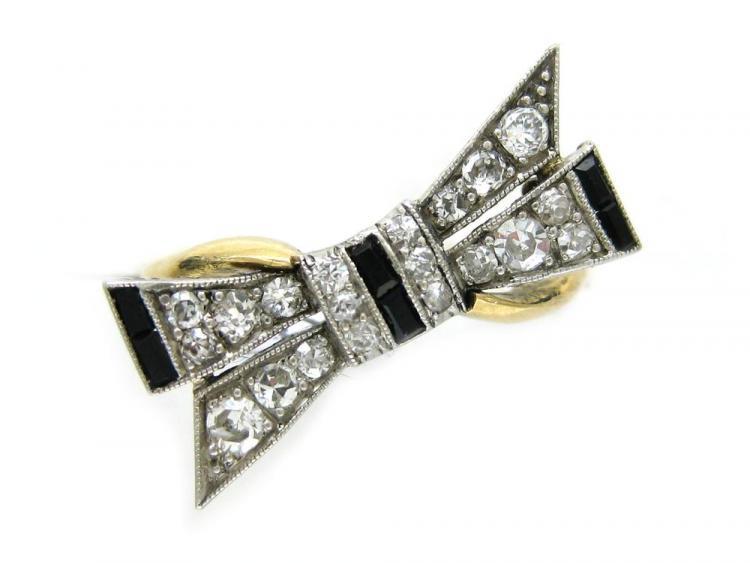 Onyx Diamond Bow Ring