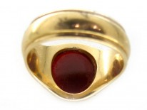 18ct Gold Banded Carnelian Signet Ring