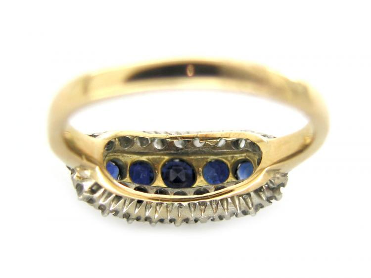 Sapphire & Diamond Boat Ring