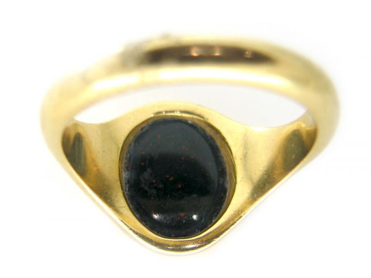 18ct Gold Bloodstone Uncarved Signet Ring