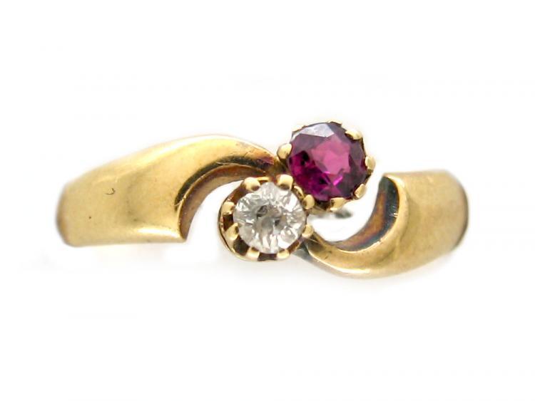 Diamond & Ruby Twist Ring