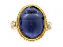 Lapis Lazuli Scarab Beatle Ring