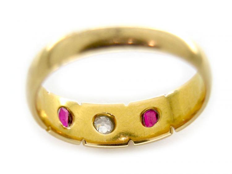 Ruby & Diamond 18ct Gold Gypsy Ring