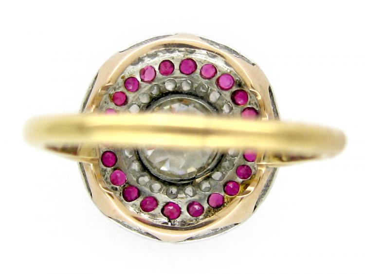 Diamond & Ruby Circle Ring