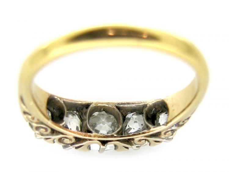 Diamond Half-Hoop Carved Ring