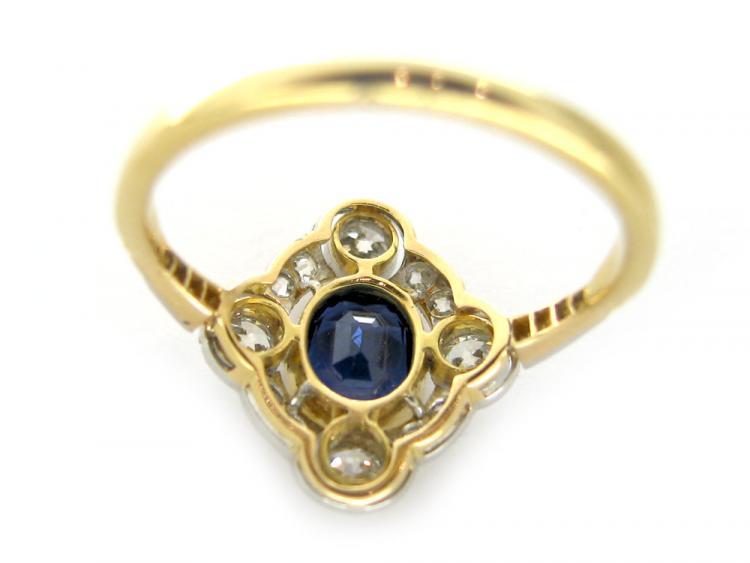 Sapphire & Diamond Four Point Ring