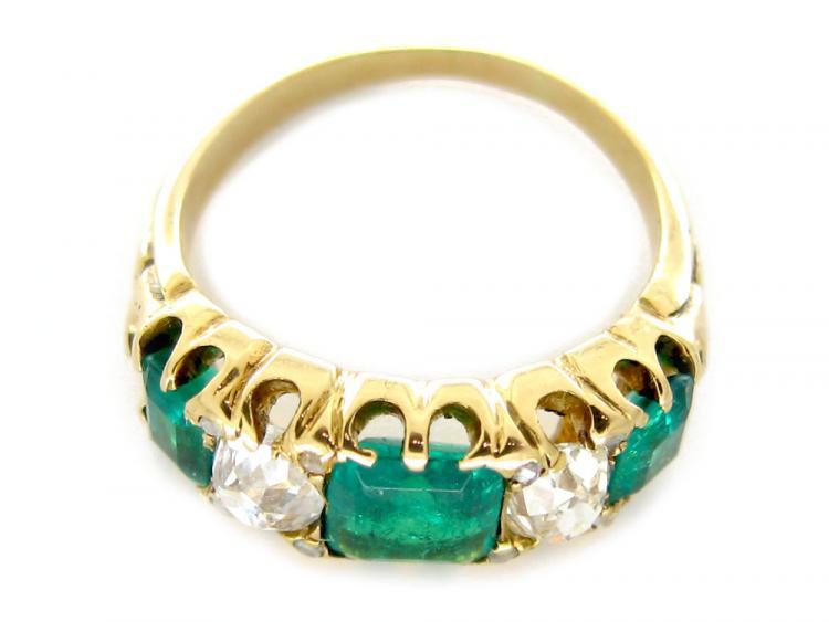 Emerald & Diamond Half-Hoop Ring