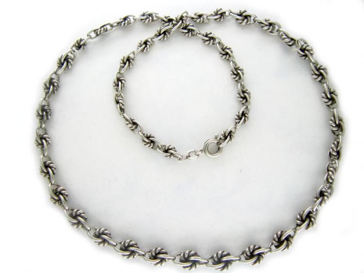 Silver Knot-Link Necklace