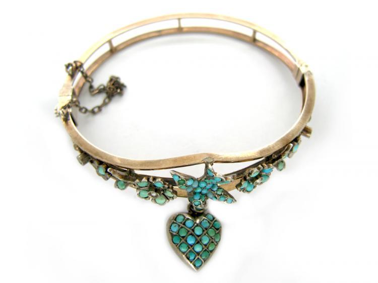 Silver Gilt Turquoise Bangle