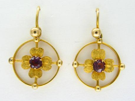 Gold Drop Flower Earrings