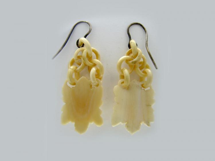 Carved Ivory Drop Earrings