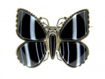 Banded Sardonyx Silver Butterfly