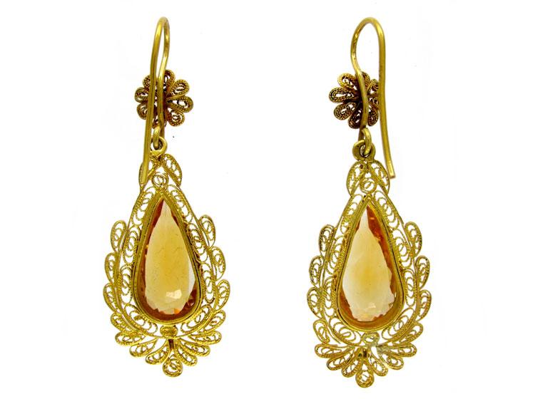 Gold Citrine Drop Earrings
