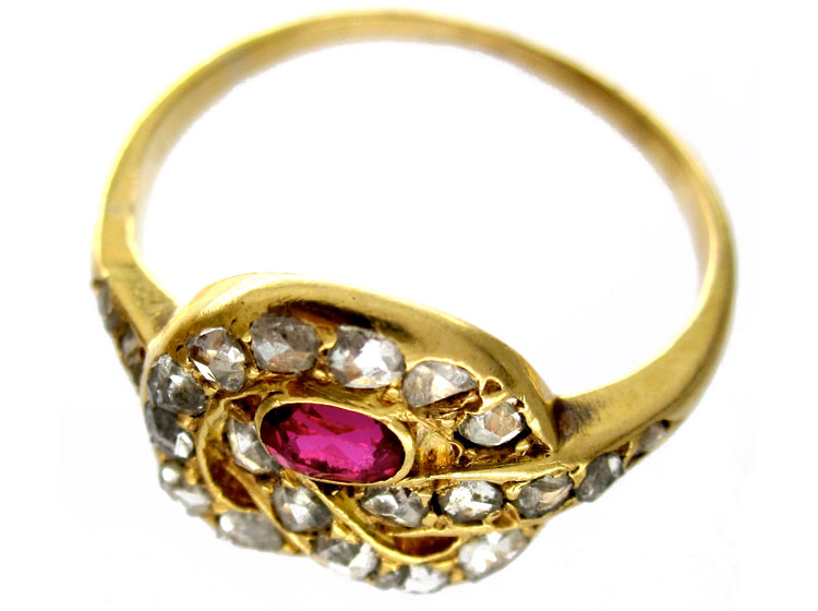 Ruby Diamond Knot Ring