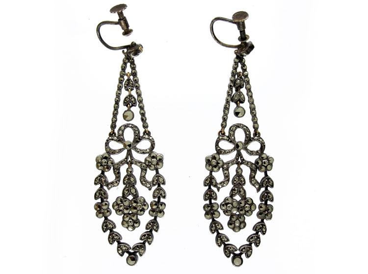 Silver Marcasite Drop Earrings