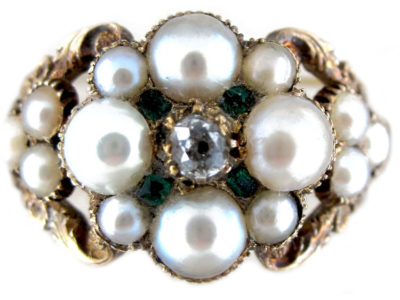 Regency Natural Pearl Diamond Emerald Ring
