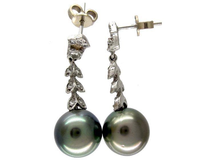 Cultured Pearl Diamond Drop Earrings