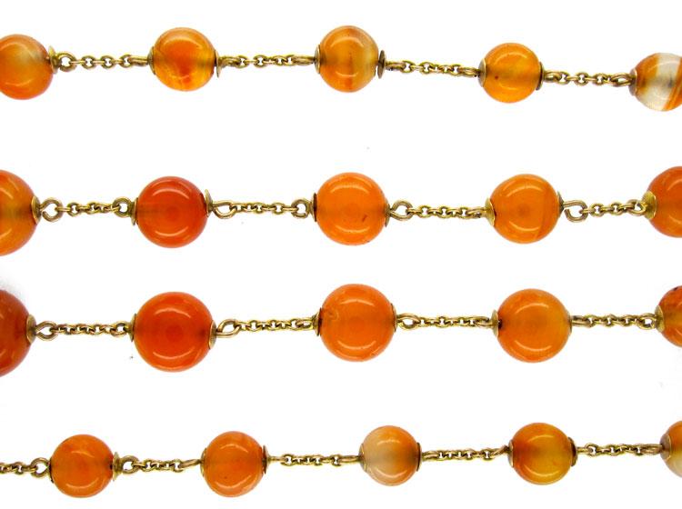 Georgian Carnelian Gold Guard Chain