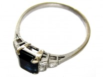 Baguette Sapphire & Diamond Art Deco Ring