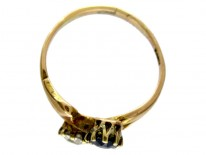 Sapphire & Diamond Art Nouveau Ring