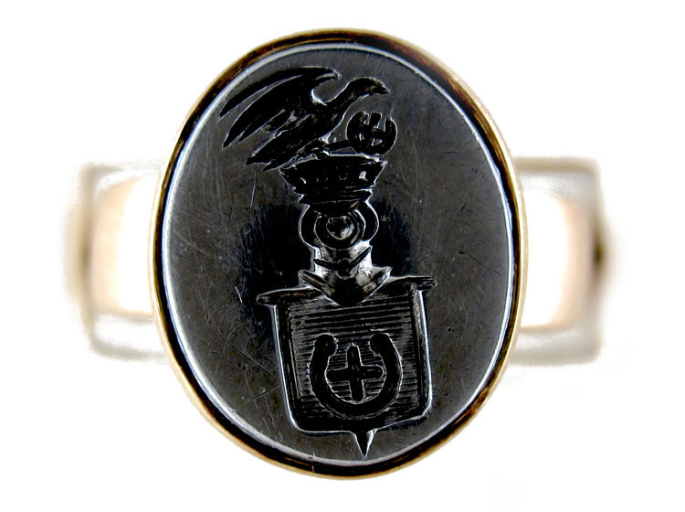 Steel & 18ct Gold Signet Ring
