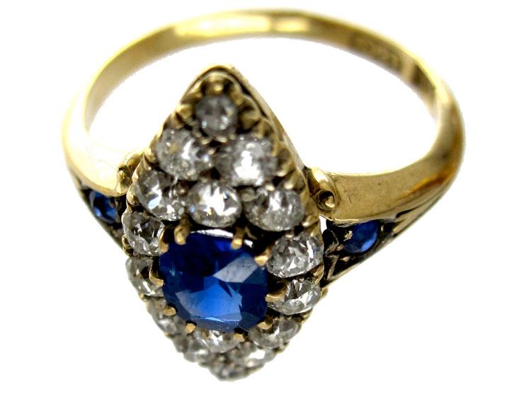 Sapphire Diamond Marquise Ring