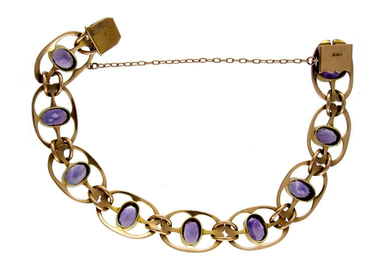 15ct Gold Amethyst Bracelet