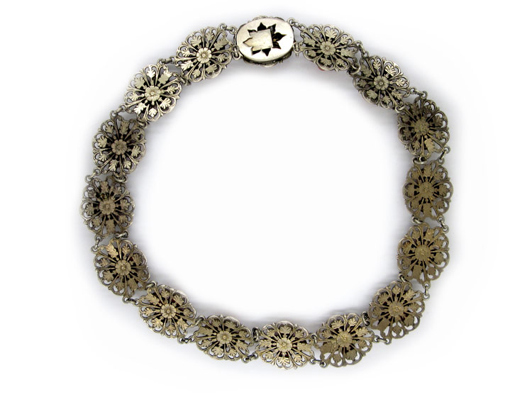 Silver Coral Flower Necklace