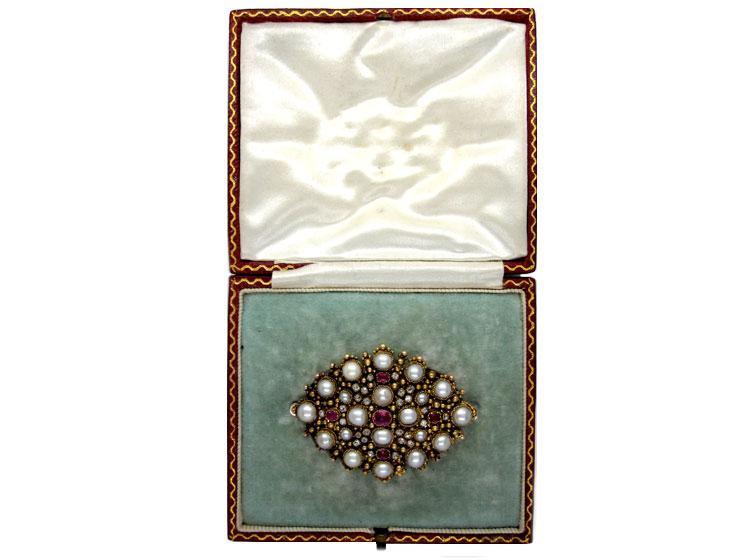 Regency Ruby Diamond Brooch