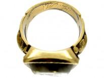 Gold Quartz Miner's Ring