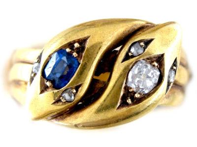 Sapphire & Diamond Snake Ring