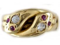 Double Snake Ruby Diamond Ring