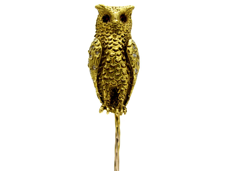 Owl 18ct Gold Tie Pin