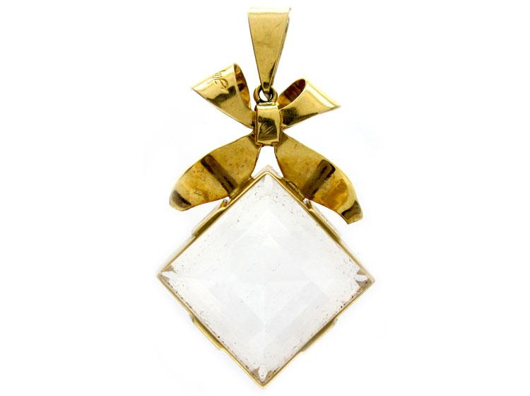 Rock Crystal Bow Pendant