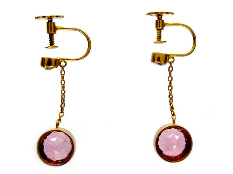 Pink Tormaline Diamond Drop Earrings