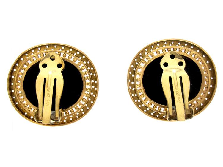 Regency Hardstone Classical 15ct Gold Earrings
