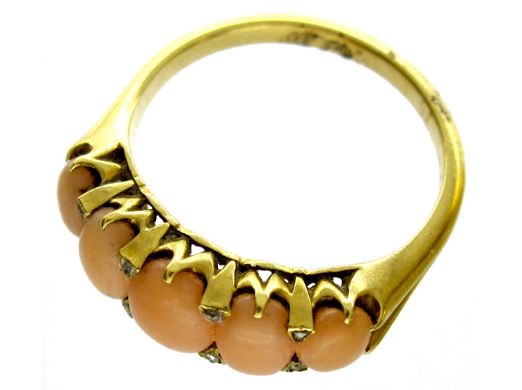 Coral Diamond Victorian Ring
