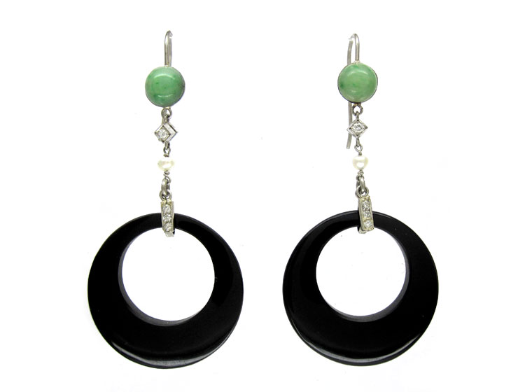 Onyx Diamond & Jade Art Deco Drop Earrings