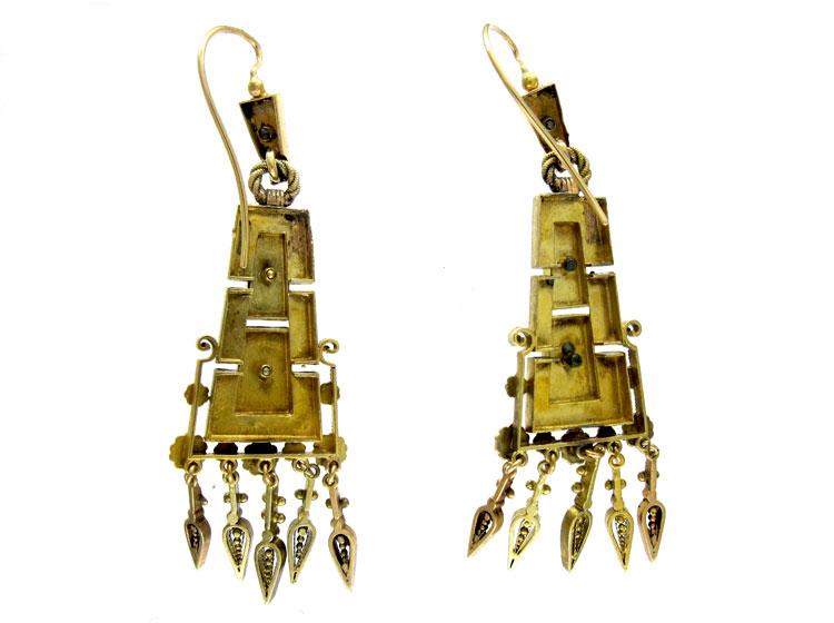 Long Drop Victorian Gold Earrings