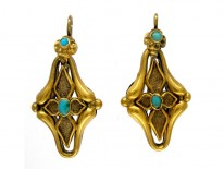 Turquoise 15ct Gold Victorian Earrings