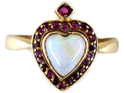 Opal & Ruby Heart Ring