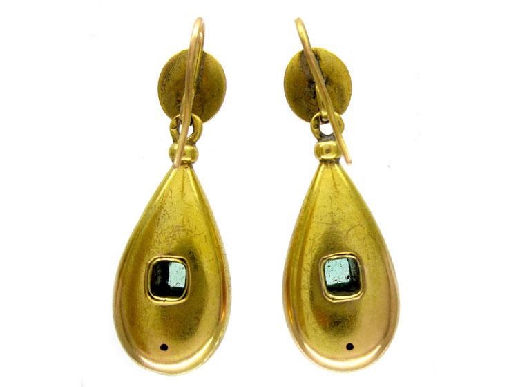 Emerald & Diamond Victorian 18ct Gold Earrings