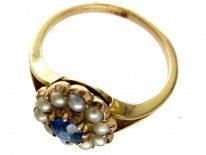Sapphire Pearl Cluster Ring